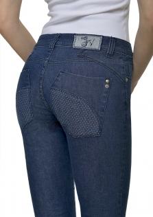 Παντελόνι DENIM σχεδιαστό, με πουά λεπτομέρειες.