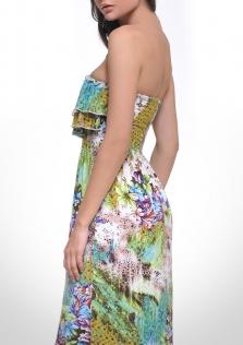 Φόρεμα εμπριμέ στράπλες μακρύ.