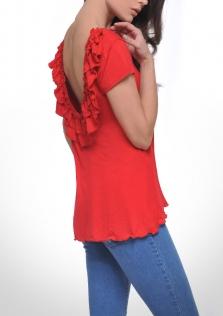 Μπλούζα κόκκινη ασύμμετρη.